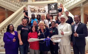 Senator Hardie Davis meets television network producers at the State Capitol. (Arts/ Entertainment)
