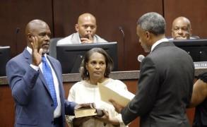 Ben Hasan is sworn in by Judge David Watkins
